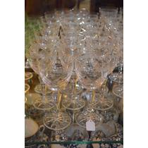 Impecables 11 Copas De Vino Tinto Cristal Tallado