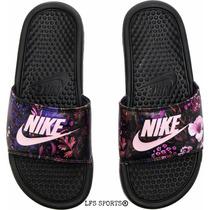 Nike Benassi Jdi Print Black Pink Floral - Mujer