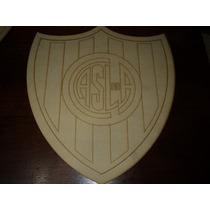 Escudo San Lorenzo En Fibrofacil Corte Laser 42x35cm