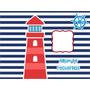 Kit Imprimible Nautico Marinero Nene Diseñá Tarjeta Cumple