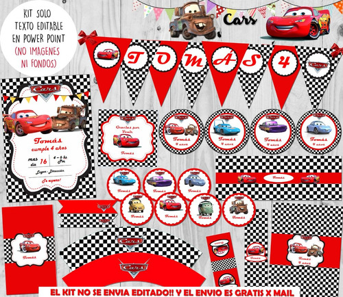 Kit Imprimible Cumple+candy Bar Cars Texto Editable! en