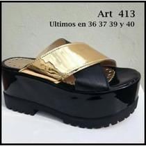 Sueco Acharolado Negro Y Oro Con Plataforma