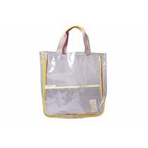 Bolsa Transparente Con Bolsillos Externos Bordes Amarillo