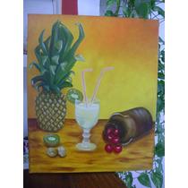 Cuadro Pintado Al Oleo Tropical Frutas Deco Hogar