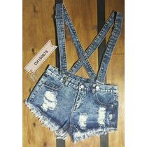 Jardinero Jeans Enterito Short Con Tiradores - Talle L (42)