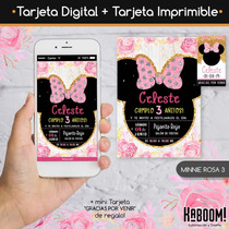 Invitación Digital Imprimible Tags Minnie Rosa Dorado En