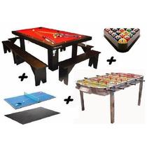 Pool + Ping Pong + Comedor + Metegol De Fundicion + Bancos