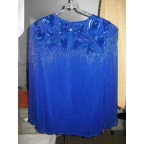 Blusa,paillette,gasa,fiesta ,noche T:m Azul Francia