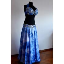 Traje Vestuario Bellydance Danzas Árabes. Seda Azul Batic