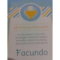 Estampitas De Comunión Varón Modelo Cáliz , Oferta X 24 U