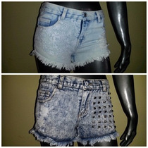 Short Jeans Con Tachas Nevado Bordado - Varios Modelos