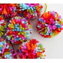 10 Pompones De Lana Multicolores 6 Cm -