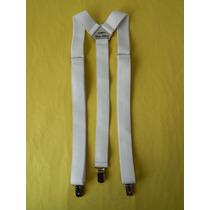 Tirador Pantalón Suspenders Pinza Madison Blanco 3cm