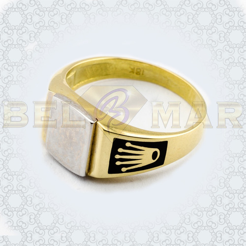 cd44b37e8a96 Anillo Oro 18 Kts Sello Esmaltado Con Coronas Para Grabar en venta ...