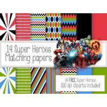 Kit Imprimible Superheroes 44 Clipart- 14 Fondos.