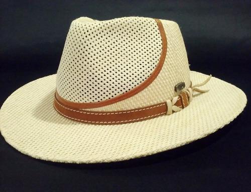 738033d9f8 Sombrero Australiano De Rafia Combinado Con Ecocuero