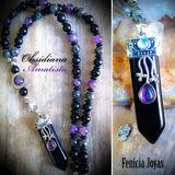 Collar Obsidiana Y Amatista