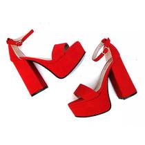 Zapatos Sandalias Mujer Plataforma Taco Palo Gamuza