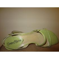 Zapatos Sandalias Viento Y Marea Nº 37 Cuero, Verde Claro