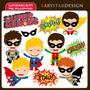 Kit Imprimible Chicos Superheroes 17 Imagenes Clipart