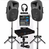 Combo Premium Sonido Dj Consola-bafles-potencia-mic-auric