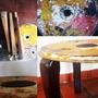Mesa Chapa Y Madera, Material Reciclado, Diseño, Colores