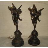 Estatua Lampara Petit Bronce ¨el Angel Y El Mundo¨ C Tulipa