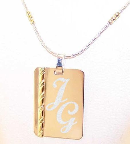8e53c9234b35 Medalla Plata Y Oro Frase Iniciales 15x21mm + Cadena Hombre en venta ...
