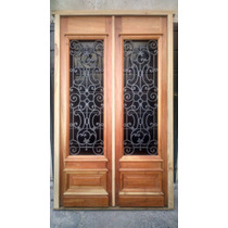 Puerta Estilo Colonial Antiguo Cedro Macizo 1.45x2.25 C/reja