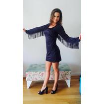 Vestido Gamuza Flecos Ultima Moda!! Variedad De Colores