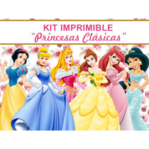 Kit Imprimible Princesas, Bella Aurora Cenicienta Sirenita