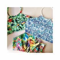 Halter Crop Top Bikini De Lycra Estampada Divinas!