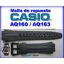 Malla De Reloj Casio Aq160 Aq163-caucho Negro-local Centro