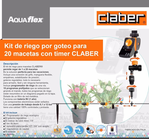 Kit Riego Goteo Hasta 20 Macetas Timer Claber 90766 Aquaflex