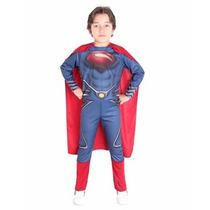 Disfraz De Superman Con Capa Man Of Steel Varios Talles