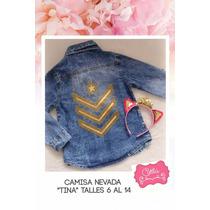 Camisa Nenas M/larga Jeans Nevada Transfer Talles 6 Al14