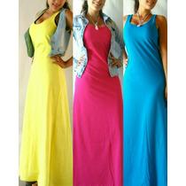 Vestidos Maxi Musculosa Largos Lisos Varios Colores