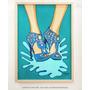 Cuadro Zapatos Azules Acrílico Sobre Bastidor 51x71 Marco