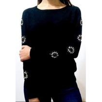 Sweater Con Piedras Bordadas