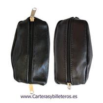 Monedero De Cuero Negro Doble Cierre S 89,90