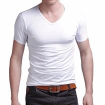Pack X 10 Remeras Escote V Entalladas Slim Fit Para Hombres