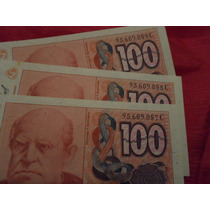 Billetes Argentinos Antiguos - 100 Australes X 3unidades
