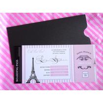 Tarjeta Sobre Perlado Ticket Pasaje Paris 15 Años Eiffel
