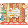 Kit Imprimible 7 Làminas Navidad Fondos + Plantillas Bolsas
