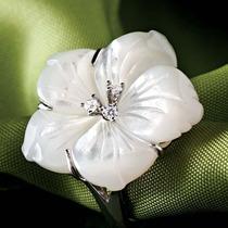 Anillo Stauer De Madre Perla Y Diamantes