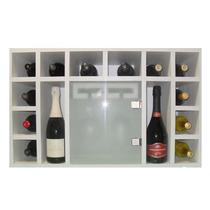 Bodega Para Vinos De Pared En Madera. 18 Botellas. 6 Copas.