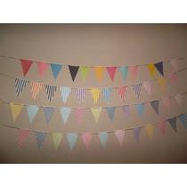 Banderines De Cartulina Estampados 12 X $ 25 - Cumpleaños