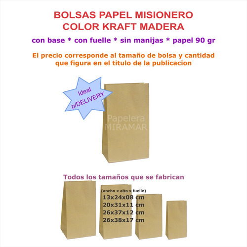 2a48325b7 100 Bolsas 12x24x07cm Sin Manijas Papel Kraft Madera. Precio: $ 485 Ver en  MercadoLibre