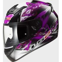 Casco Dama Ls2 Ff352 Integral Flutter Black Purple Talle S/m