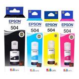 Combo Tinta Epson Original 504 T504 L4150 L4160 L6161 L6191